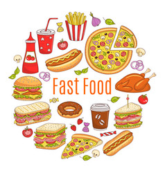 sketch of fast food circular vector image