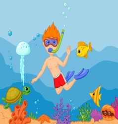 Snorkeling boy cartoon vector image vector image