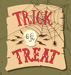Trick or treat hand drawn halloween lettering vector