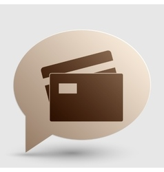 Credit card sign brown gradient icon on bubble vector