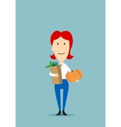Woman with paper bag full of groceries vector