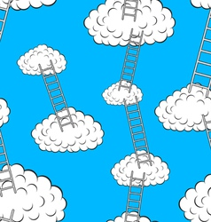 Clouds with stairs seamless wallpaper vector