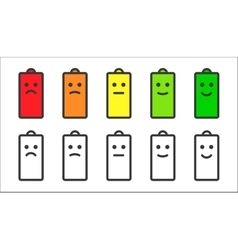 Battery indicator smiley icons vector