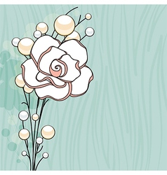 Rose and pearls background vector