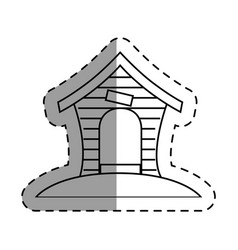 wooden mascot house icon vector image