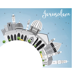 Jerusalem skyline with gray buildings blue sky vector