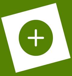 positive symbol plus sign  white icon vector image