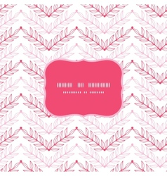Pink lineart leaves chevron frame seamless pattern vector