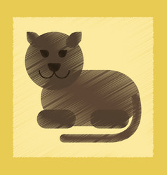 Flat shading style icon cartoon panther vector