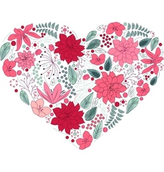 Floral heart on white made of flowers vector