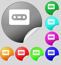 Cassette icon sign set of eight multi-colored vector