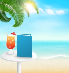 Beach with palm cocktail menu and clouds summer vector
