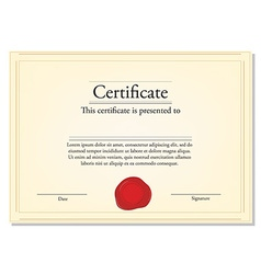 Certificate with wax stamp vector image