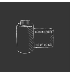 Camera roll drawn in chalk icon vector