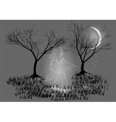 Ghost on a rural path vector