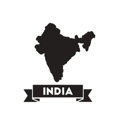 Flat icon in black and white india map vector