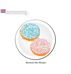 Beschuit met muisjes a traditional treat of nethe vector