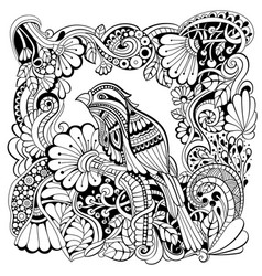 bird in fantasy garden vector image vector image