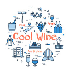 blue round cool wine concept vector image