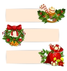 Christmas holiday banner set for festive design vector image