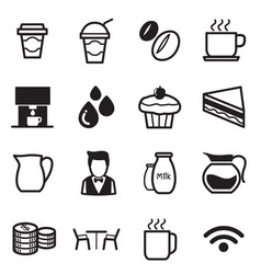Coffee shop icons set vector