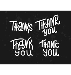 Collection of four custom pieces Thank you words vector image