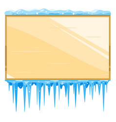 Empty wooden board with icicles vector