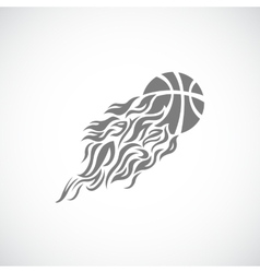 flaming basketball vector image vector image