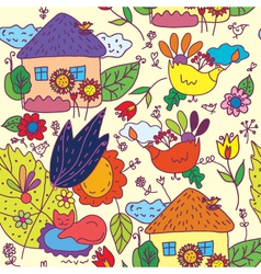 garden and house seamless vector image