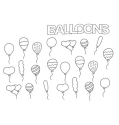 hand drawn balloons set coloring book page vector image vector image