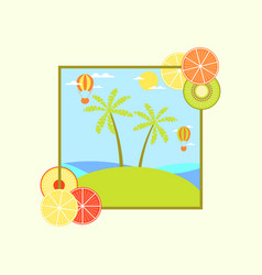 landscape with an island and palm trees hot air vector image