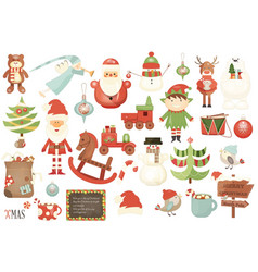 Merry christmas characters and xmas elements vector