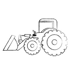 Monochrome contour hand drawing of tractor loader vector
