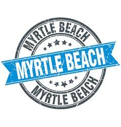 Myrtle beach blue round grunge vintage ribbon vector