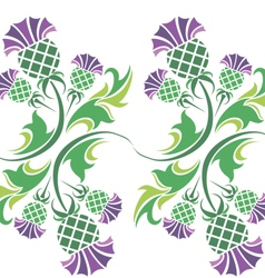 Ornament with flowers of thistle vector