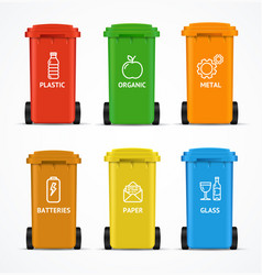 realistic 3d detailed color recycled bin vector image