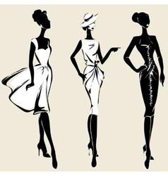 Retro fashion models in sketch style fall winter vector