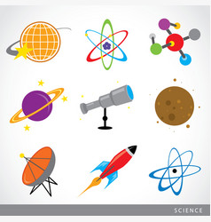 Science stuff icon universe solar planet rocket vector