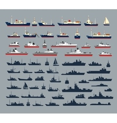 silhouettes of ships vector image vector image