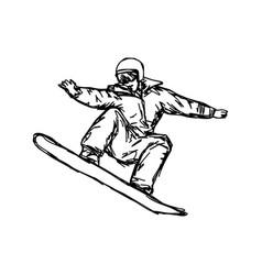 sketch snowboarder sketch hand vector image vector image