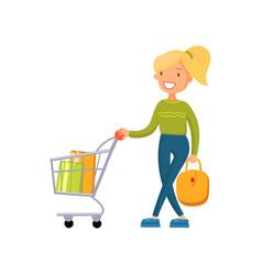 smiling woman pushing shopping cart girl shopping vector image