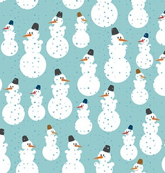 Snowman seamless pattern Christmas background vector image