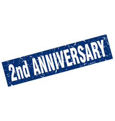 Square grunge blue 2nd anniversary stamp vector