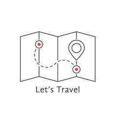 thin line travel map with pin vector image vector image