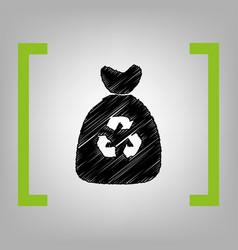 trash bag icon black scribble icon in vector image
