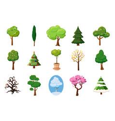 Tree icon set cartoon style vector