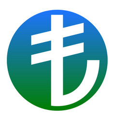turkiey lira sign white icon in bluish vector image vector image