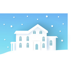 winter poster with house vector image vector image