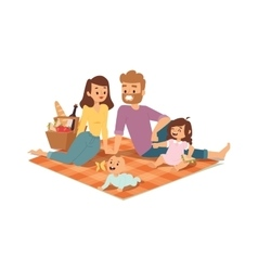 Family picnicking summer vector image