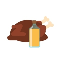 Whole chicken and juice bottle icon vector